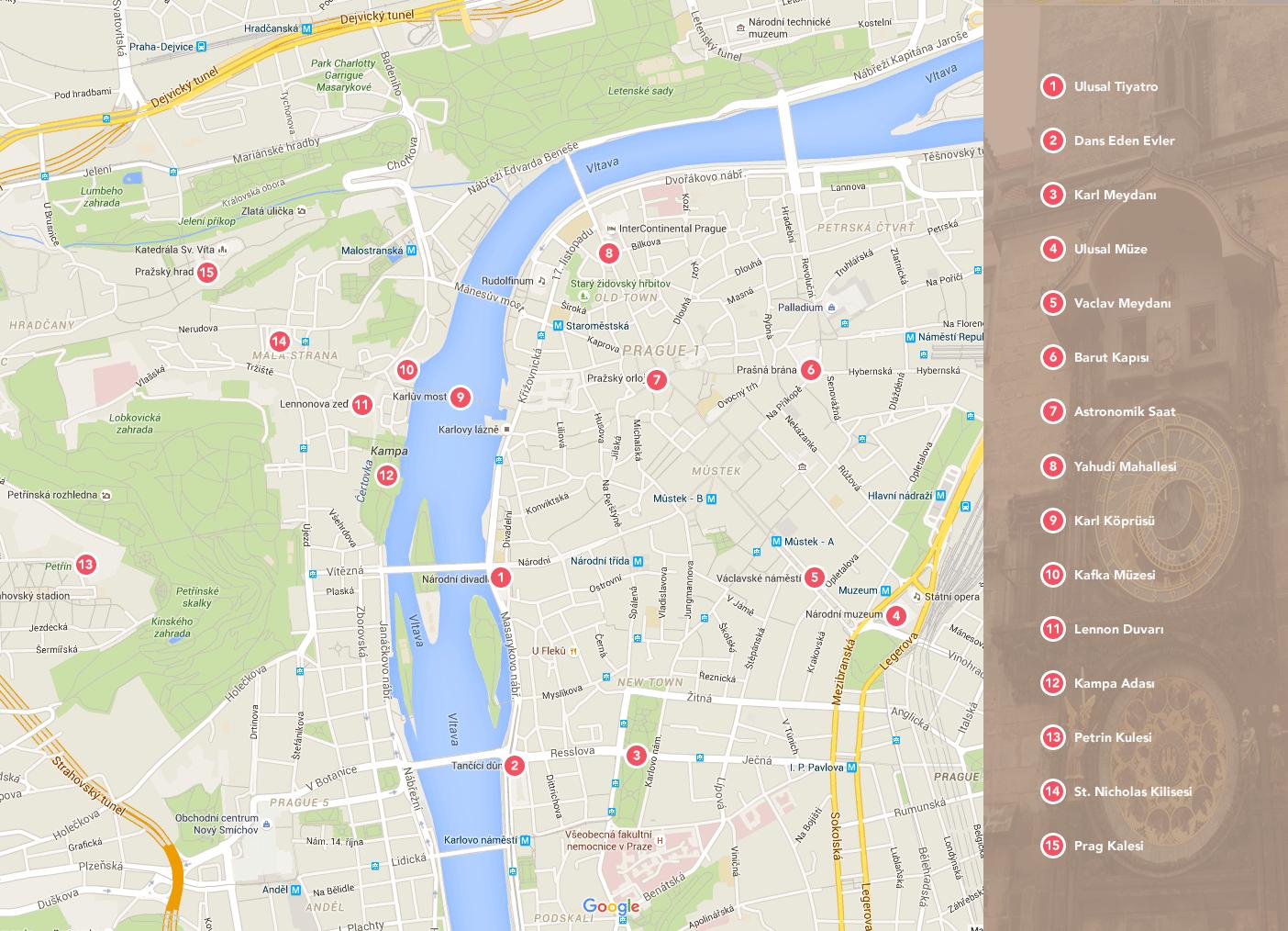 Prag Turist Haritası