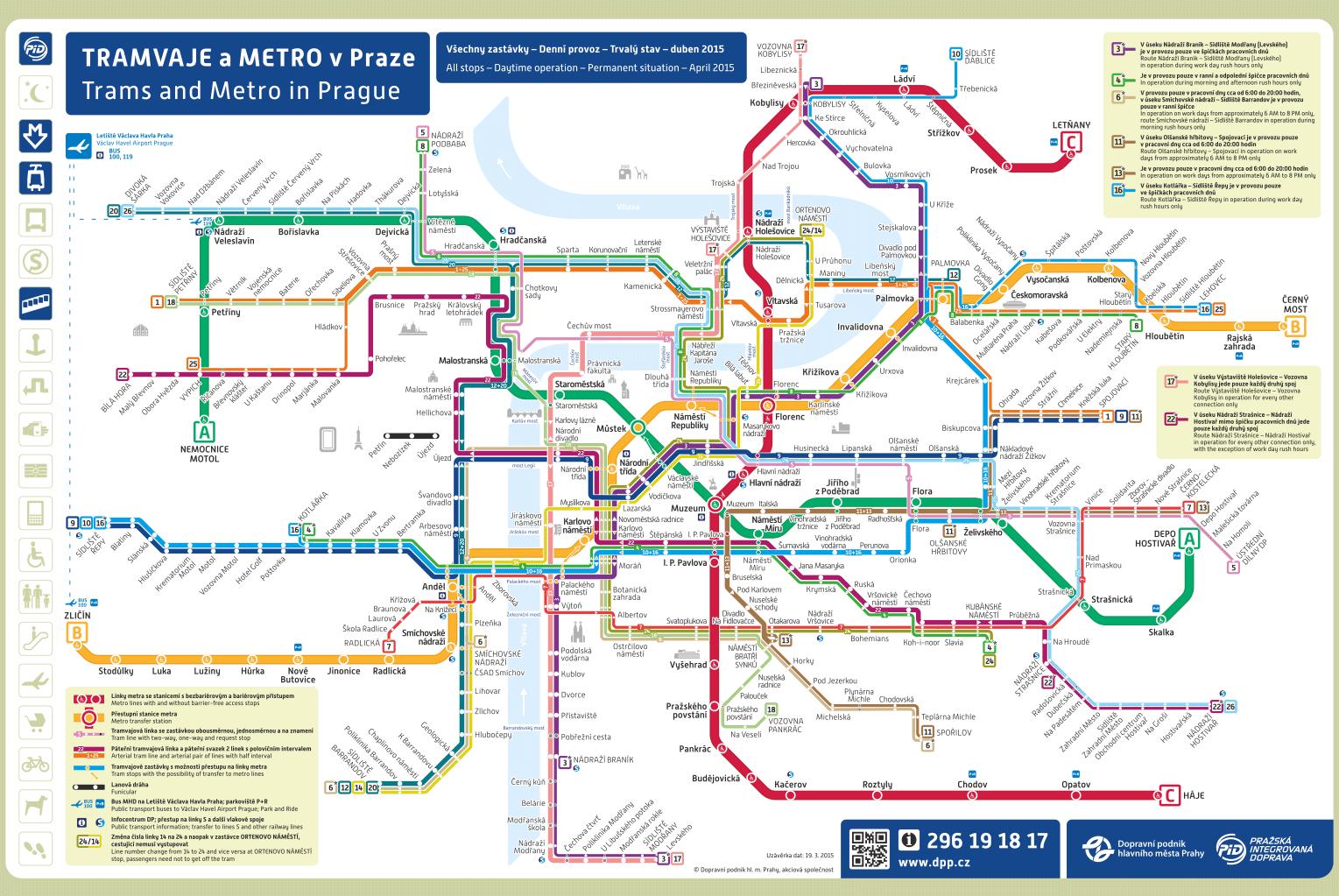 Prag metro ve tramway haritası