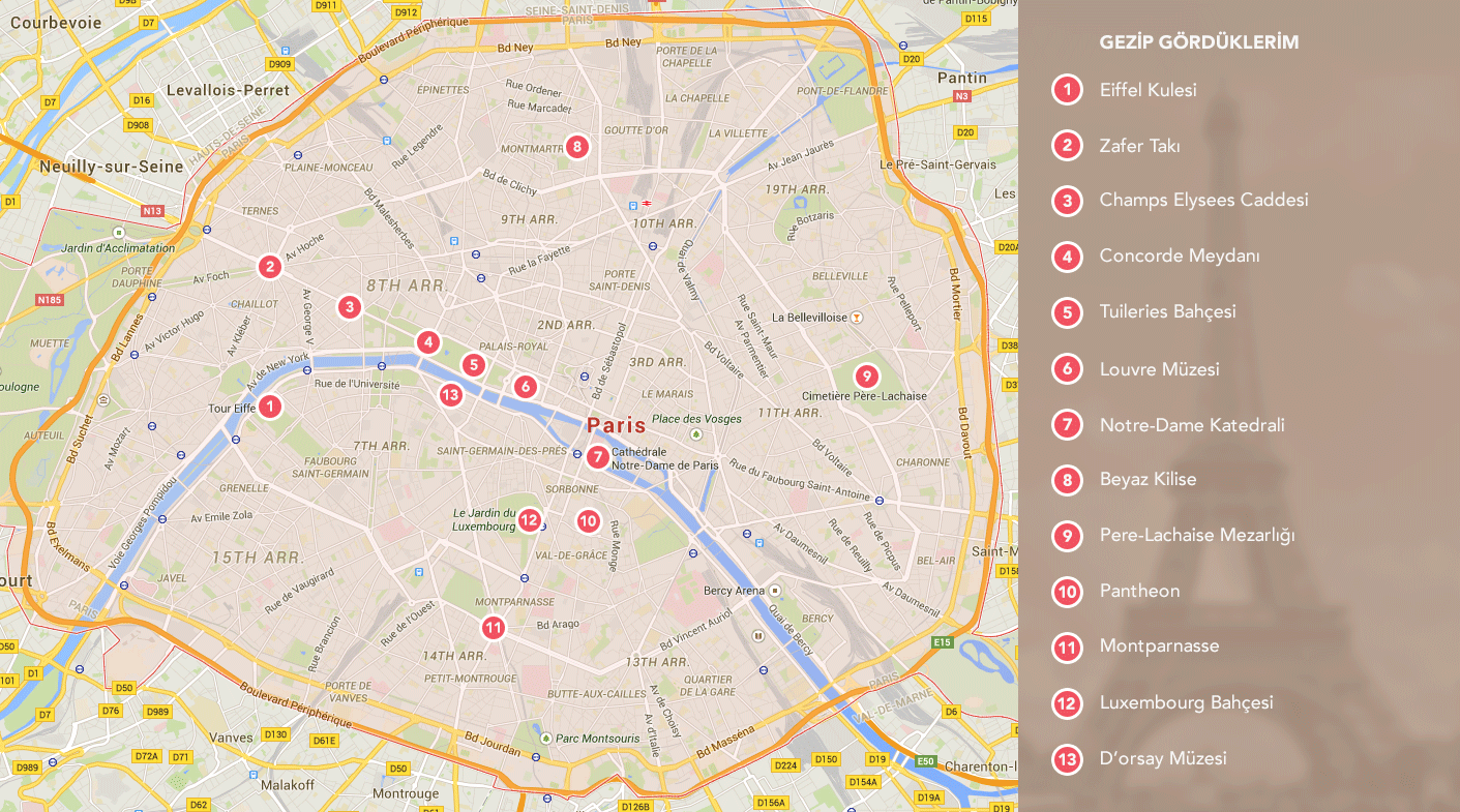 Paris Turist Haritası