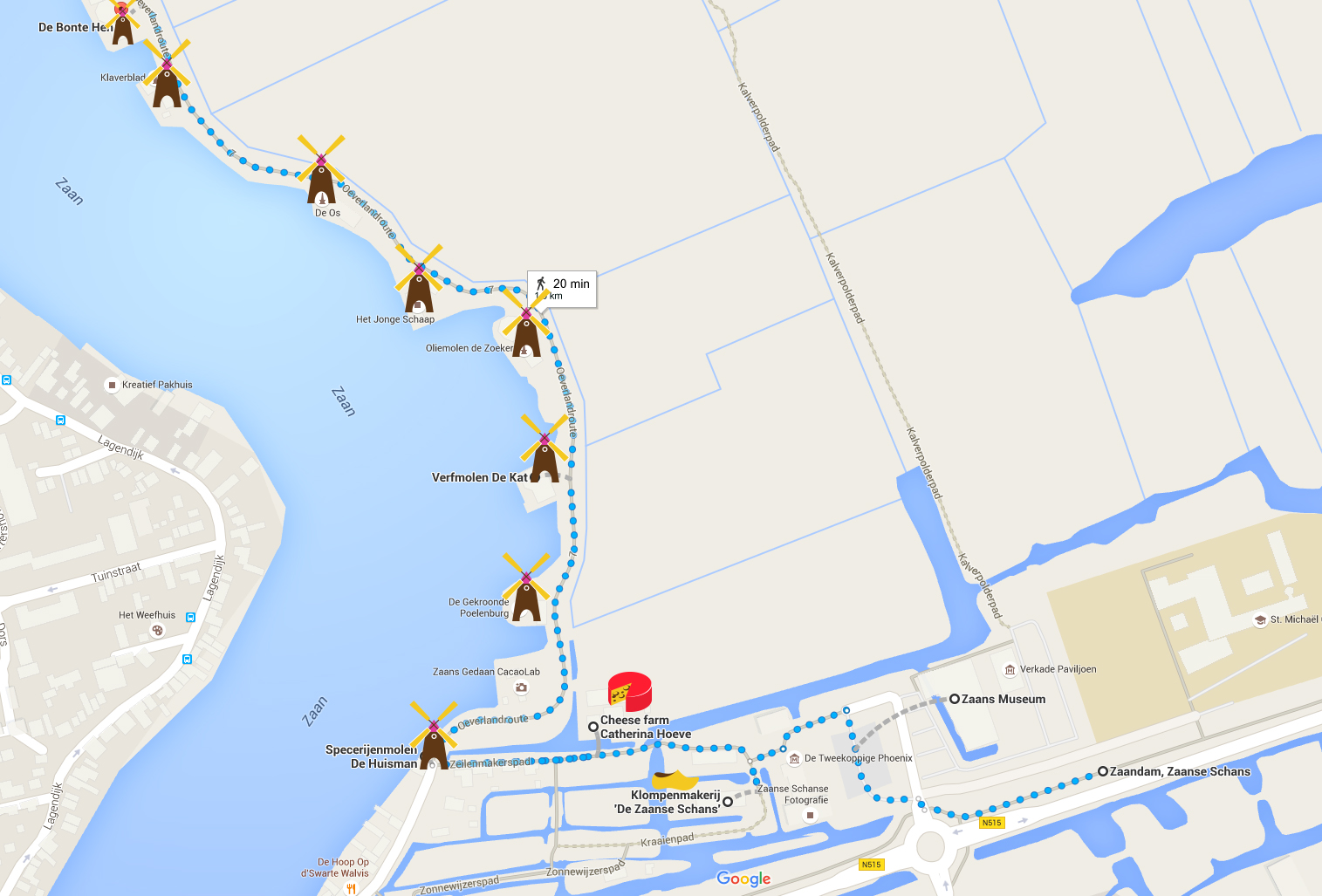 Zaanse Schans Turist Haritası