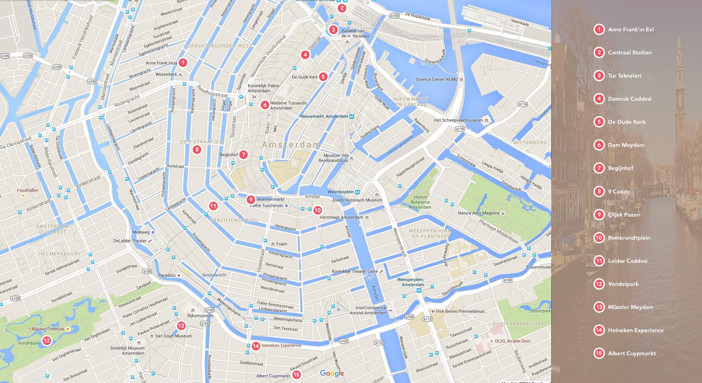 Amsterdam Turist Haritası