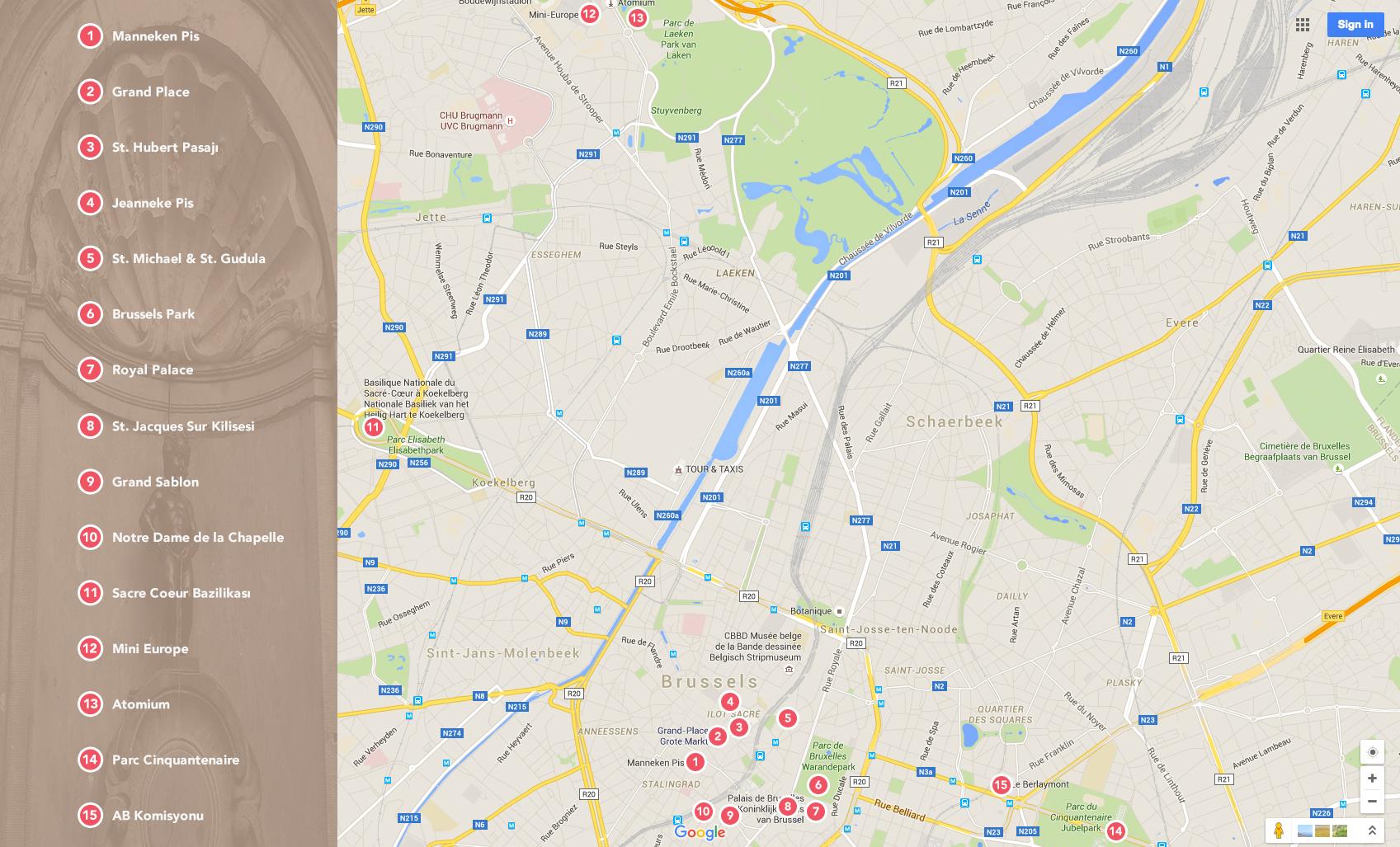 Brüksel Turist Haritası