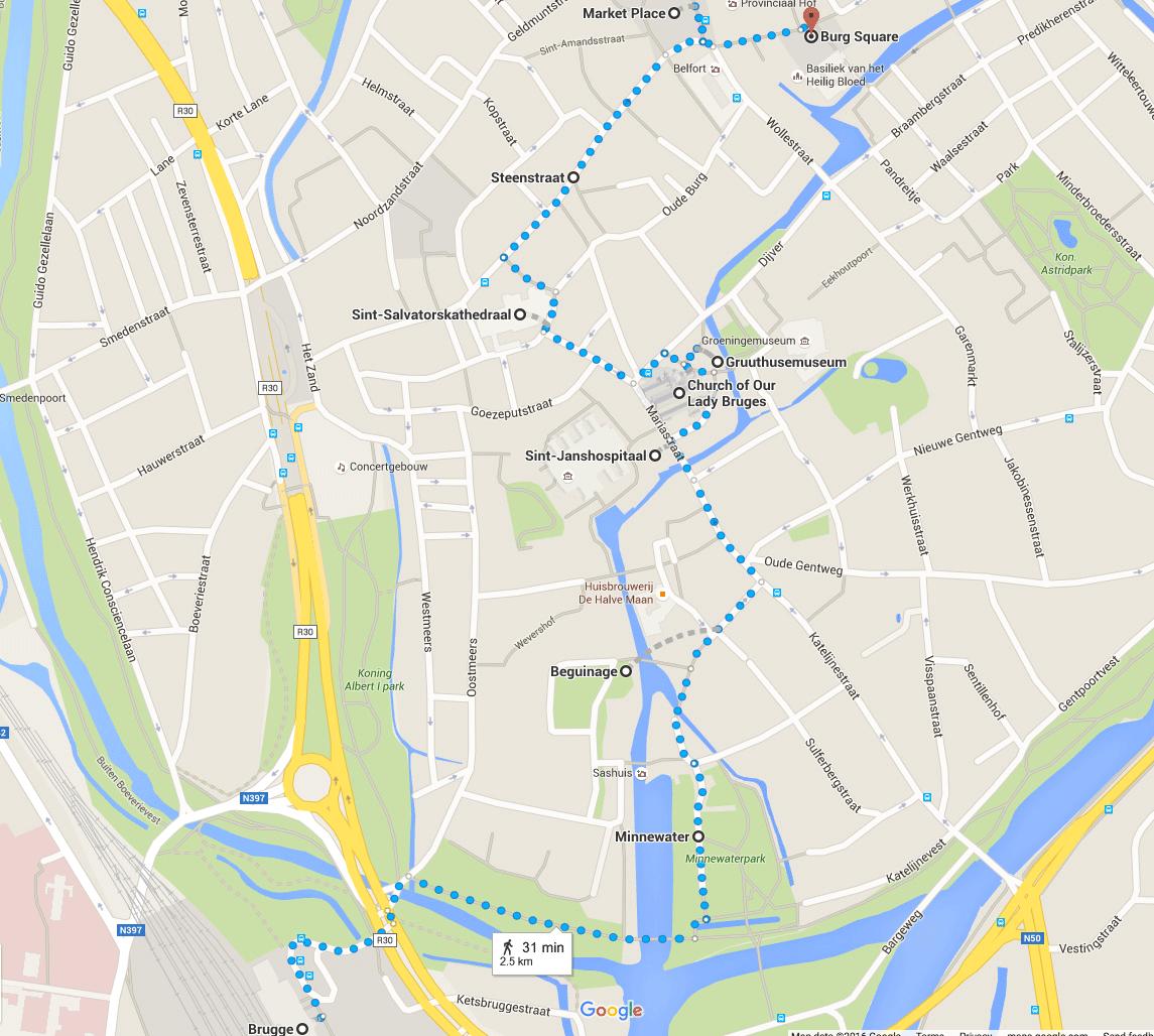 Brugge Turist Haritası