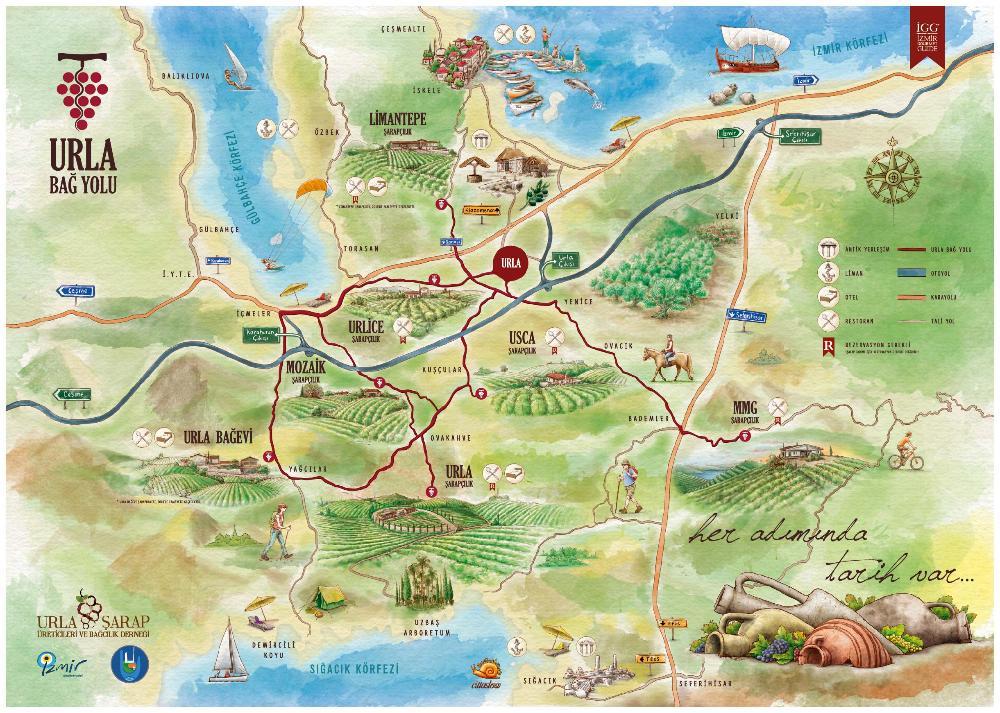 Urla Bağ Yolu Haritası