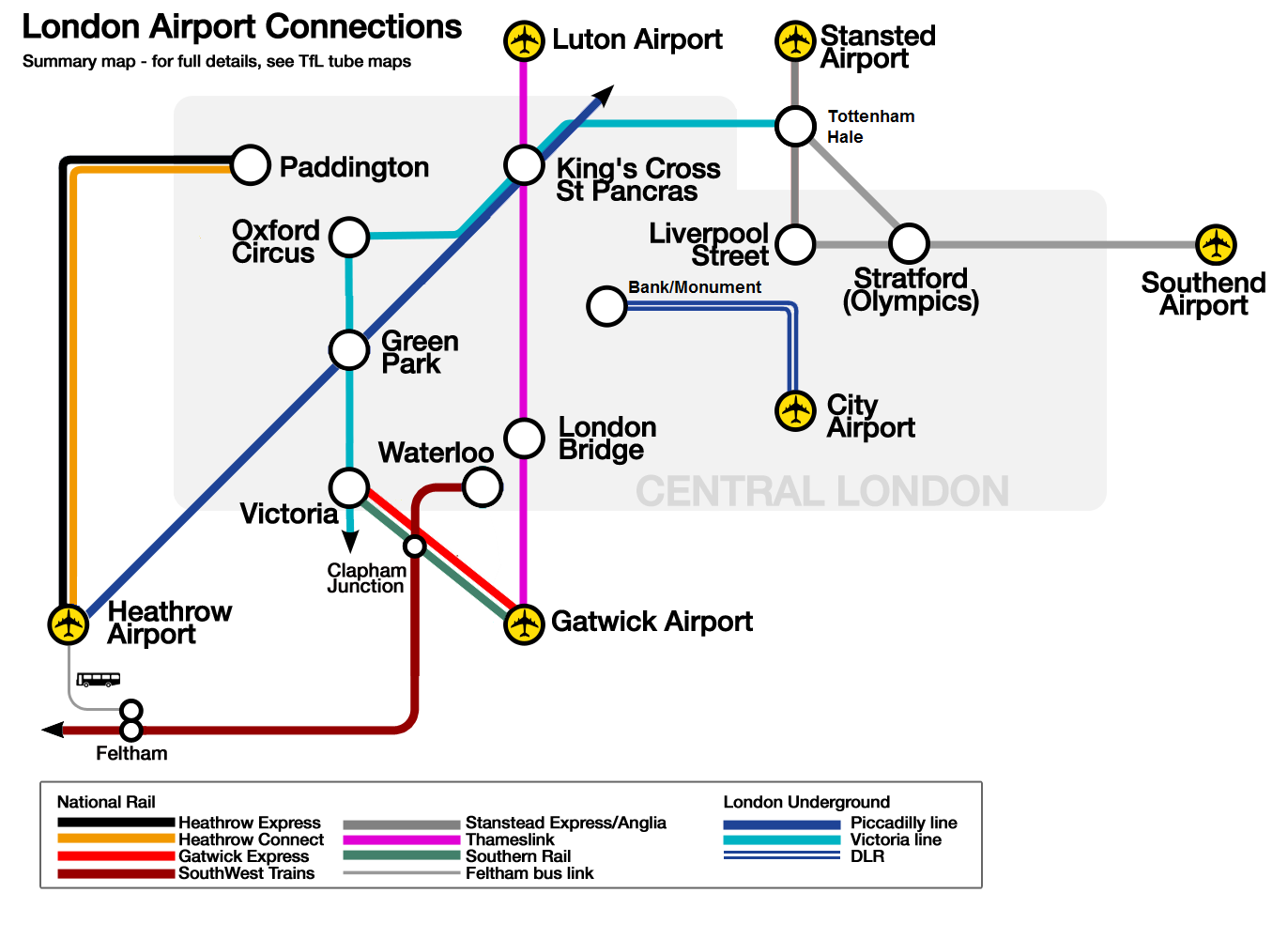 Londra Havalimanı Ulaşım Haritası
