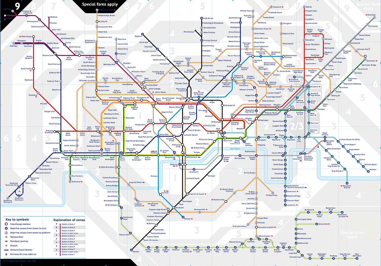 Bölgelere ayrılmış Londra metro haritası